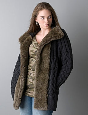 plus size fur cardigan