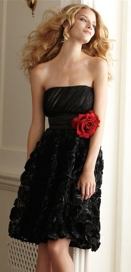 Strapless Ruched Satin-Rose Dress