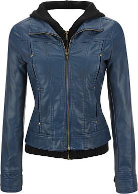 Hooded Leather women Jacket