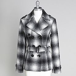 Women's Plaid Double Breasted Wool Coat