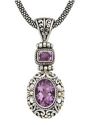 7 Carat Amethyst Yellow Gold Over Sterling Silver Pendant