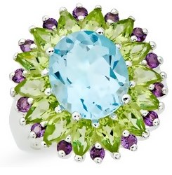 Blue Topaz Peridot and Amethyst Sterling Silver Ring
