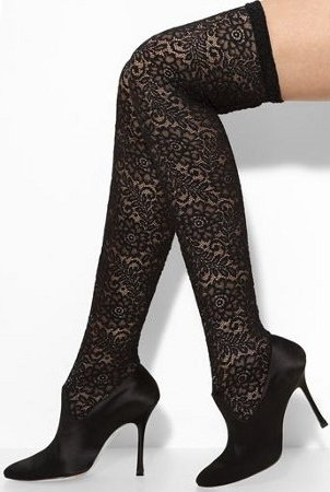 Manolo Blahnik Pascalare Over the Knee Stretch Lace Boot