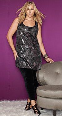 Rose print sequin tunic