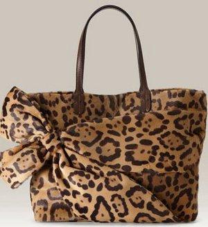 Valentino Leopard Print Calf Hair Bow Tote