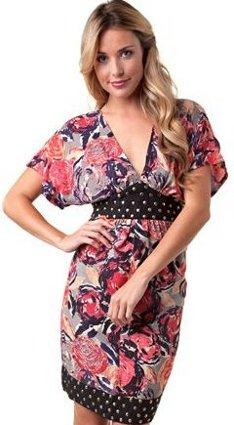 angel rose print stud waist dress