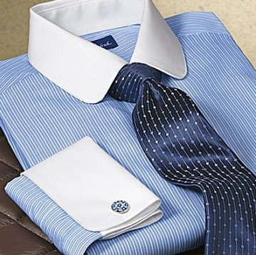 Striped Club Collar men Dress Shirt