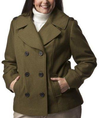 Women's Plus-Size Merona Military Green Mid-Length Wool Peacoat