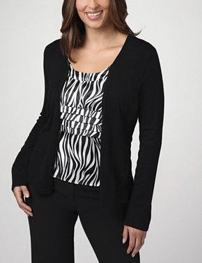 Layered Look Zebra Blouse & Cardigan