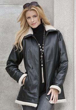 plus size Leather Aviator Jacket