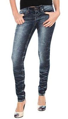 YMI Blue Rinsed Crinkle Skinny Jeans