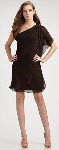 Badgley Mischka Platinum Label Chiffon One Shoulder Caftan Dress