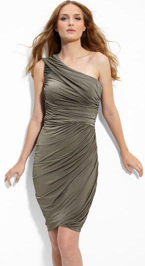 Eliza J One Shoulder Ruched Jersey Sheath Dress