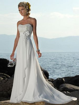 Empire-Line Strapless Appliqué Beading Court Train Chiffon Bridal Gown