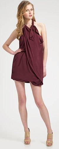 Halston Drape Front Halter Dress