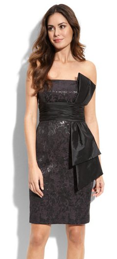 Maggy London Side Bow Strapless Jacquard Dress