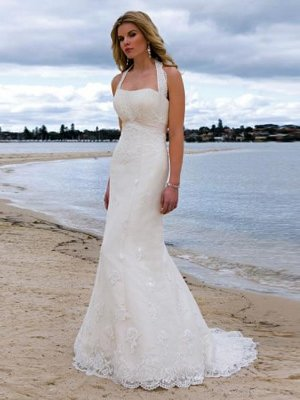 Mermaid Halter Beading Applique Cathedral Train Lace Bridal Gown
