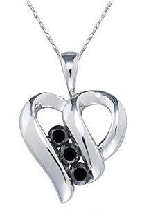 3 Stone Black Diamond Heart Pendant