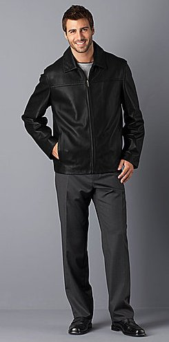 Cole Haan Front-Zip Leather Jacket