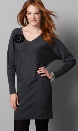 Deep V-Neck Sweater Dress
