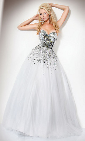white ball gown by jovani