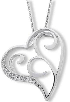 Open Swirl CZ Heart Sterling Silver Pendant