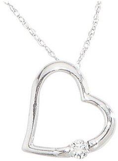 Round Diamond Heart 14K Pendant