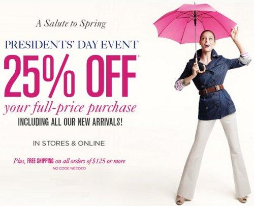 ann taylor loft president day sale