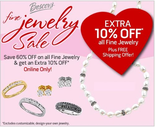 Boscov 39 s fine jewelry sale 60 off extra 10 off free for Jewelry sale online shopping