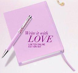 crystalline ballpoint pen and notebook