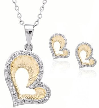 Two Tone Heart Necklace and Earring Set