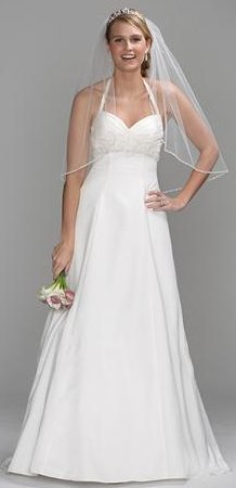 Long Satin Halter Gown with Beaded Embroidery