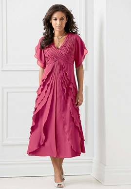 Evening Dress with Shirred Petal-Skirt