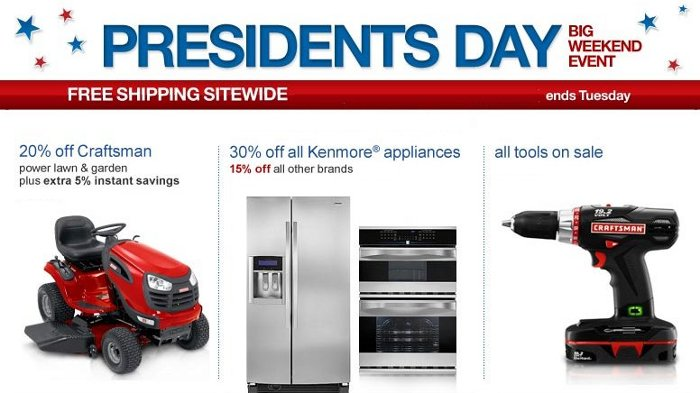 sears president day sale