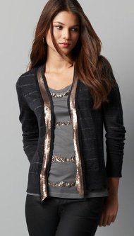 striped cardigan with sequins