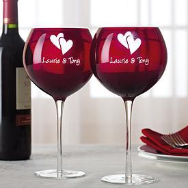 Valentine Balloon Wine Glasses