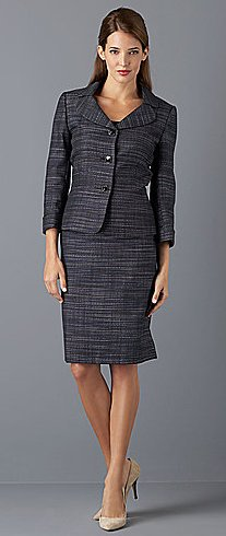 3-Button Peplum Skirt Suit
