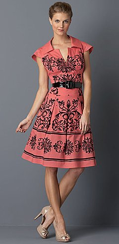 KAY UNGER Cap Sleeve Fit-and-Flare Printed Dress