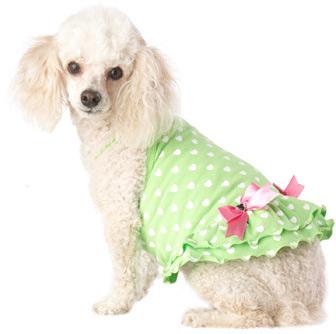 PETCO Smoochie Pooch Green Heart Print Dog Dress
