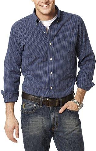 nautica micro-check poplin shirt