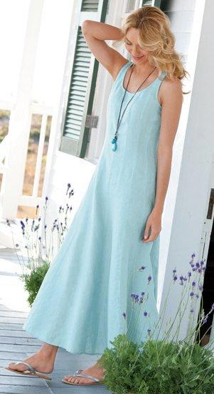 seamed linen dress