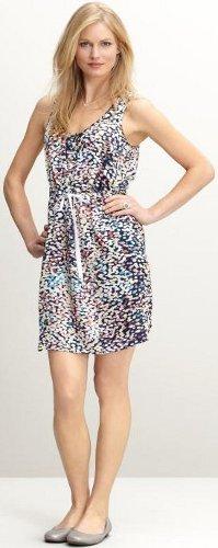 Silk bubble print drawstring dress