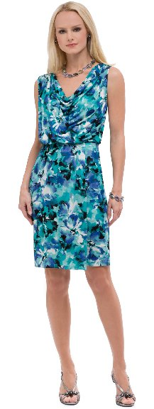 AK Anne Klein Watercolor Print Drape Front Dress
