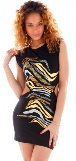 Animal Screen Side Cut Out Dress