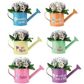 colorful flower watering cans