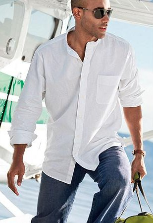 Linen/Cotton Banded-Collar Shirt
