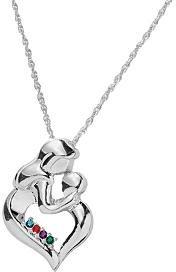 mother's embrace birthstone pendant