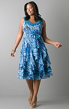 Ruffled print chiffon dress