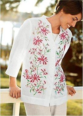 sunny blooms: womens linen shirt