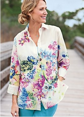watercolor floral: women's voile shirt